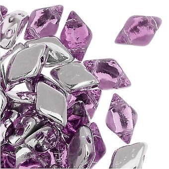 Tjeckisk glaspärlaDuo, 2-håls diamantformade pärlor 8x5mm, 8 gram, bakgrundsbelyst rosa dimma