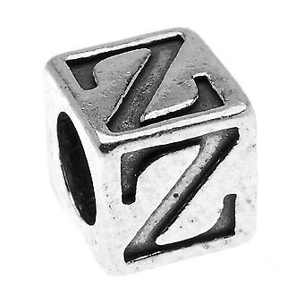 Sterling Zilver, Alfabet Kubus Kraal Letter 'Z' 4.5mm, 1 Stuk, Antiek