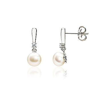 Eye Candy ECJ-ER0043 - Women's earrings with d&rsquo pearls, fresh water and 2 white zircons, in silver 925 rhodium, 7 mm