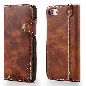 Genuine leather wallet case card slot for iphonexr brown no3419