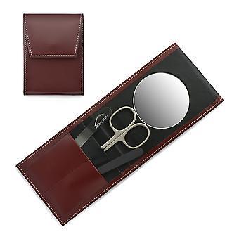 Mont Bleu 3-delige manicure set in een premium rode lederen koffer met spiegel en kristal nagelvijl - zwart