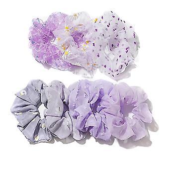 5Pcs girl hair band purple little daisy hair ring