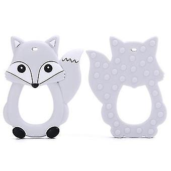 Gray cartoon fox baby teether, silicone molar toy az9229