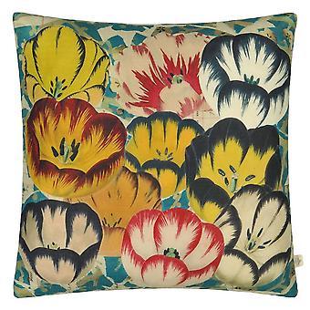 Tulips Floral Cushion In Cobalt Blue By John Derian