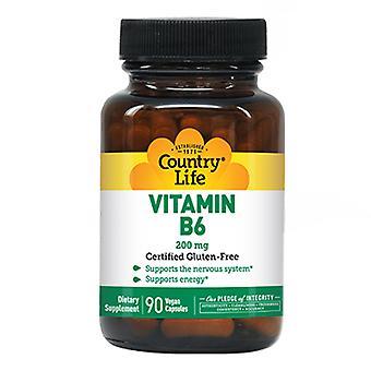 Country Life Vitamiini B-6, 200 MG, 90 Korkkia