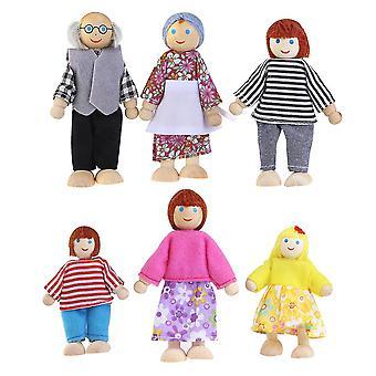 6pcs Holz Spielzeug lustige Kinder Puppen Kinder Puppen Holz Puppe Spielzeug für Kinder