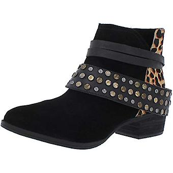 Naughty Monkey Women's Crimson Studded Cow Suede Stacked Heel Ankle Bootie
