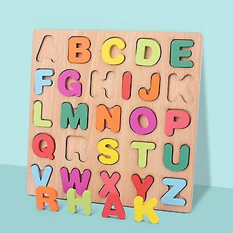 3D Puzzle Wooden Board with Colorful Alphabet Number Kids Early Educational Busy Board Toy Matching Letter Family Game