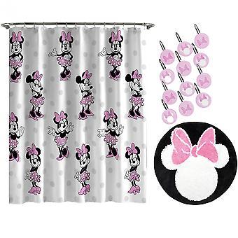 Disney Minnie mus over trykk 14pc dusj gardin og teppe sett