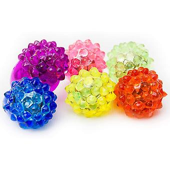 6 Pcs Led Light Up Jelly Bumpy Rings Bulk Party Favor Blinky Rings For Bar And Parties