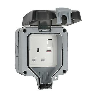 Copoz WATERPROOF OUTDOOR 13A 1 GANG SWITCHED SINGLE SOCKET IP66 WEATHER STORM PROOF