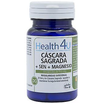 Health 4U Cascara Sagrada + Senna + Magnesium 15 mg 30 Capsules