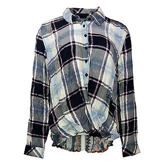 Tolani Collection Women's Top Pullover Plaid w/ Printed Back Blue A382635