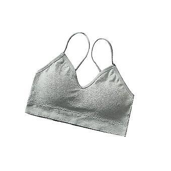 V Ausschnitt Cami Bralettes für Frauen, gepolsterte nahtlose Bralette Straps 2pack (Grau)