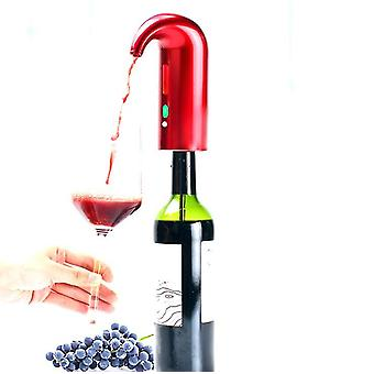 Red rechargeable portable wine decanter pump and dispenser zf0592