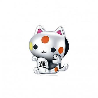 Sterling Silber Charm Glückliche Katze - 7121