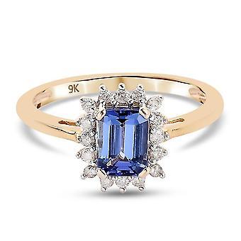 TJC Tanzanite Halo Ring 9K Yellow Gold Anniversary Gift White Diamond 1.25ct(N)
