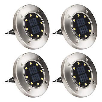 4pcs 8 Led Solar Garden Light Waterproof Outdoor Garden Disc