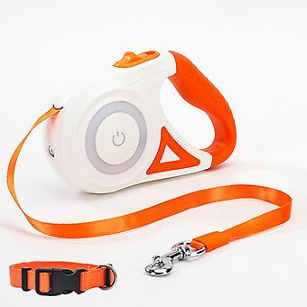 5m Dog Luminous Traction Rope Small And Medium-sized Dog With Lamp Automatic Telescopic Walking Rope Dog Chain Teddy Out Pet Products(orange)