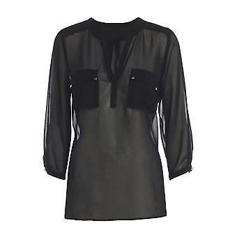 Schwarz mit V-Ausschnitt Chiffon Bluse mit Taschen TP545-M