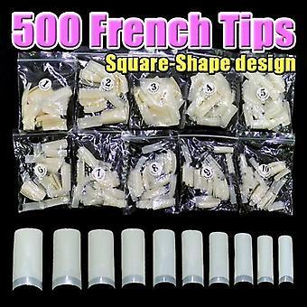 500 pcs New Professional French false nails for acrylic nail art tips design decoration (Square)