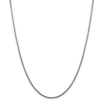 925 Sterling Silver Lobster Claw Closure 1.75mm Half Round Sparkle-Cut Fancy Box Chain Necklace - Length: 16 to 30