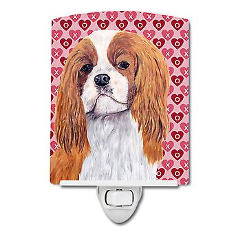 Cavalier Spaniel Hearts Love and Valentine's Day Portrait Ceramic Night Light