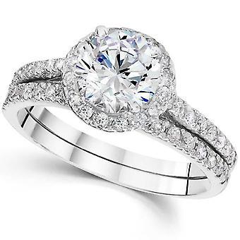 2 1/2 Carat Halo Round Enhanced Diamond Engagement Ring Matching Wedding Band Set