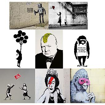 Banksy Poster Art Photo Print Graffiti Wall Decor Fan Art A0 A1 A2 A3 A4