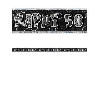 Bannière anniversaire Glitz noir & Silver 50e anniversaire prisme