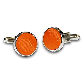 Burnt Orange Plain Satin Cufflinks