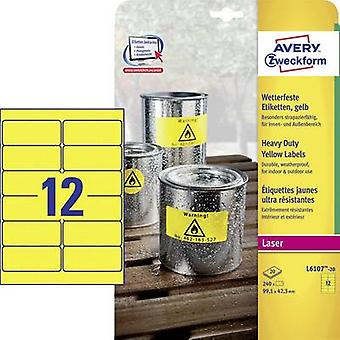 Avery-Zweckform L6107-20 Labels 99.1 x 42.3 mm Polyester film Yellow 240 pc(s) Permanent All-purpose labels, Weatherproof labels