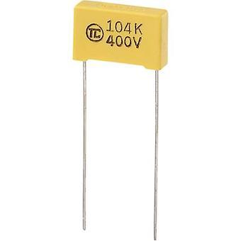 רכיבי טרו 1 pc (עם) חברי הכנסת הסרט רזה לקבל מוקדי להוביל 0.1 μF 400 V DC 5% מילימטר (L x W x H) 18 x 5 x 11 מ
