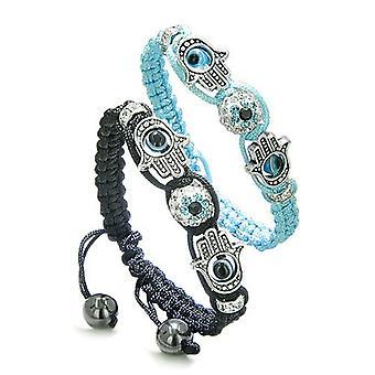 Magic Evil Eye Protection liefde paar of beste vrienden Hamsa handen Amulet instellen zwart blauw armbanden