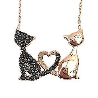 Musta ja kulta kissat kaulakoru