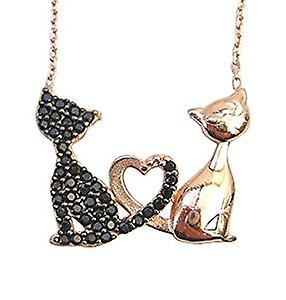Black and gold cats necklace