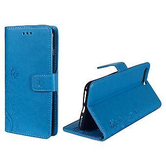 Schutz Hülle Blumen für Handy Apple iPhone 8 Plus Blau