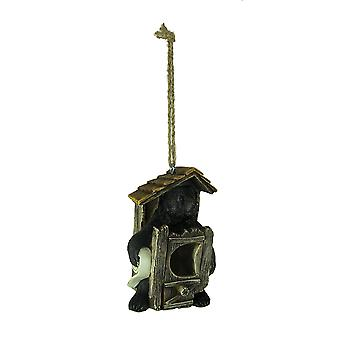 Adorable Country Black Bear Outhouse Birdhouse