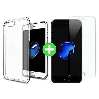Stuff certificeret® iPhone 7 transparent TPU sag + skærmbeskytter hærdet glas