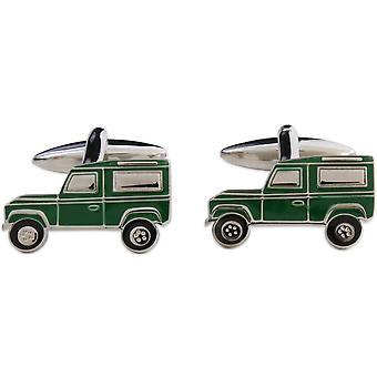 Zennor Farm Truck Cufflinks - Green/Silver