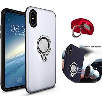Colorfone iPhone X/Xs Carcasa de plata con anillo y placa de metal