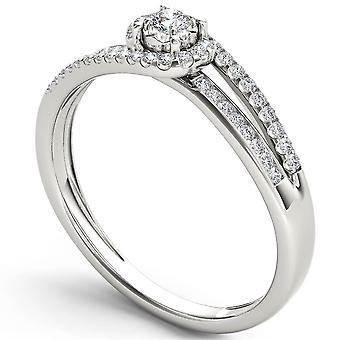 Igi certified 14k white gold 0.2 ct round diamond cluster engagement ring