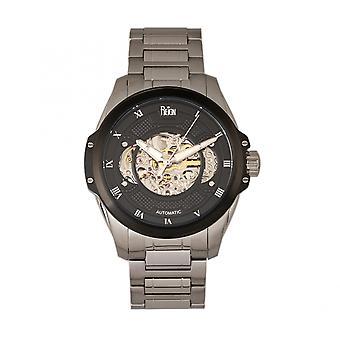 Herrschen Sie Henley automatische semi Skelett Armbanduhr - Silber/Schwarz