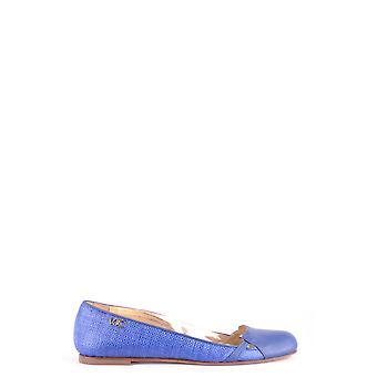 Versace Ezbc070002 Kvinder's Blue Leather Flats
