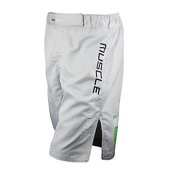 MusclePharm Mens MP Weak Ends Here Fight Shorts -Silver Gray - mma bjj ufc