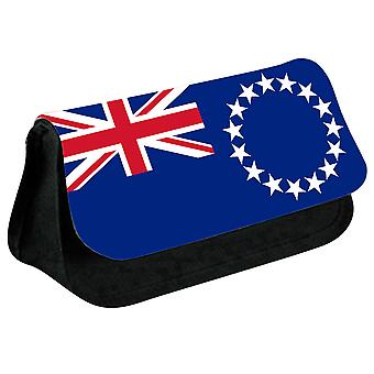 Cook Islands Flag Printed Design Pencil Case for Stationary/Cosmetic - 0205 (Black) by i-Tronixs