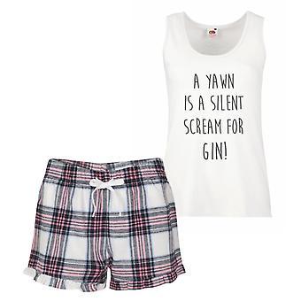 Uno sbadiglio è un urlo silenzioso per Gin Tartan rosa pigiama