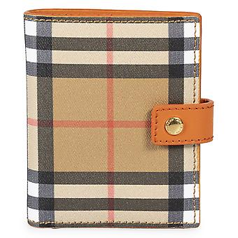 Burberry Small Vintage Check and Orange Leather Folding Wallet