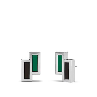 Dallas Stars Sterling Silver Asymmetric Enamel Stud Earrings In Green & Black