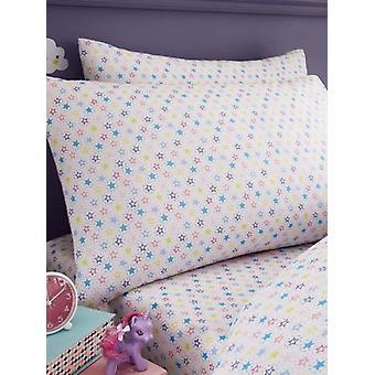 Kolorowe gwiazdy Single Fitted Arkusz i zestaw poszewek na poduszki